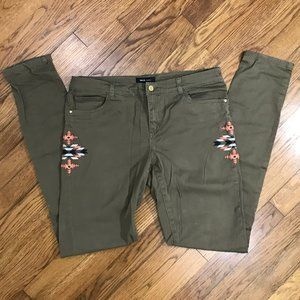 Mango Olive Army Green Embroidered Skinny Jeans